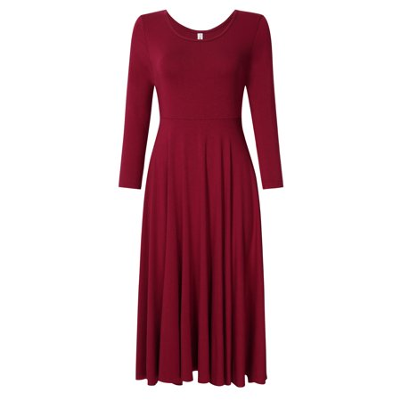 Leadingstar Women's Casual Long Sleeve A-Line Fit and Flare Midi Dress - image 7 of 8