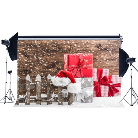 ABPHOTO Polyester 7x5ft Photography Backdrop Christmas Gifts Box Heavy Snowing Wooden Fence Hat Winter Xmas Backdrops Seamless Kids Adult Happy New Year Background Photo Studio (Heavy Gift Boxes)