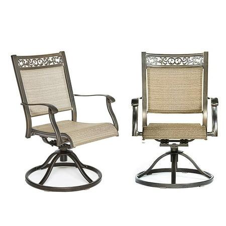 Set of 2 Bistro Swivel Rocker Chairs Outdoor Patio Garden Furniture, 360 Degree Rotating, Heavy-duty Frame Swivel Rocker Frame Color