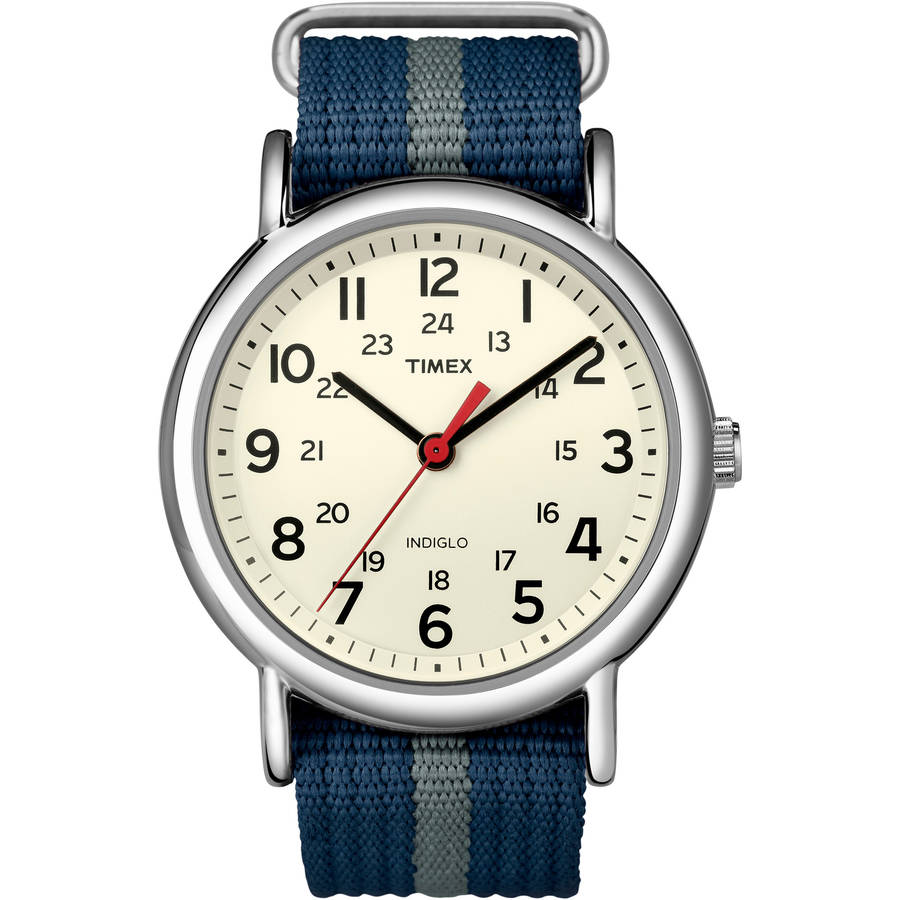 Timex Weekender Watch, Blue/Gray Stripe Nylon Slip-Thru Strap