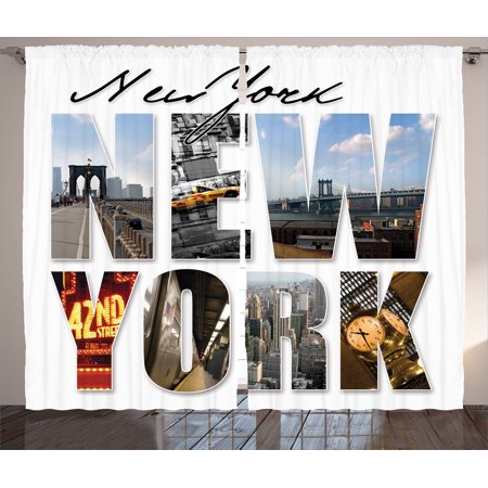 Nyc Decor Curtains 2 Panels Set, New York City Themed Collage Featuring  With Different Areas Of The Big Apple Manhattan Scenery, Living Room  Bedroom ...