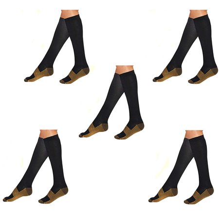 5 Pair Lg/XL Black/Gold - Bcurb Graduated Compression Socks Below Knee Calves High Support Recovery Stockings Aid Blood Circulation Relieves Feet Foot Calf Ankle Pain and Aches - Men &