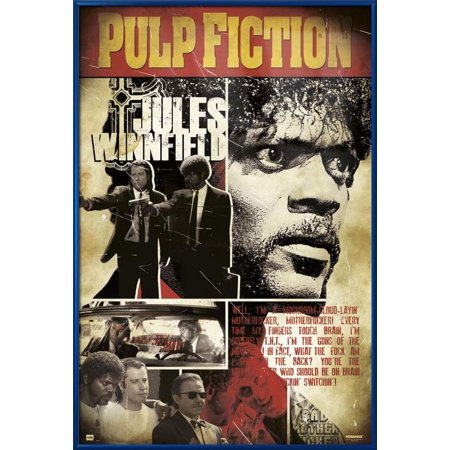 Pulp Fiction - Framed Movie Poster / Print (Pop-Art - Jules Winnfield - Quote) (One Bad Mother...) (Size: 24