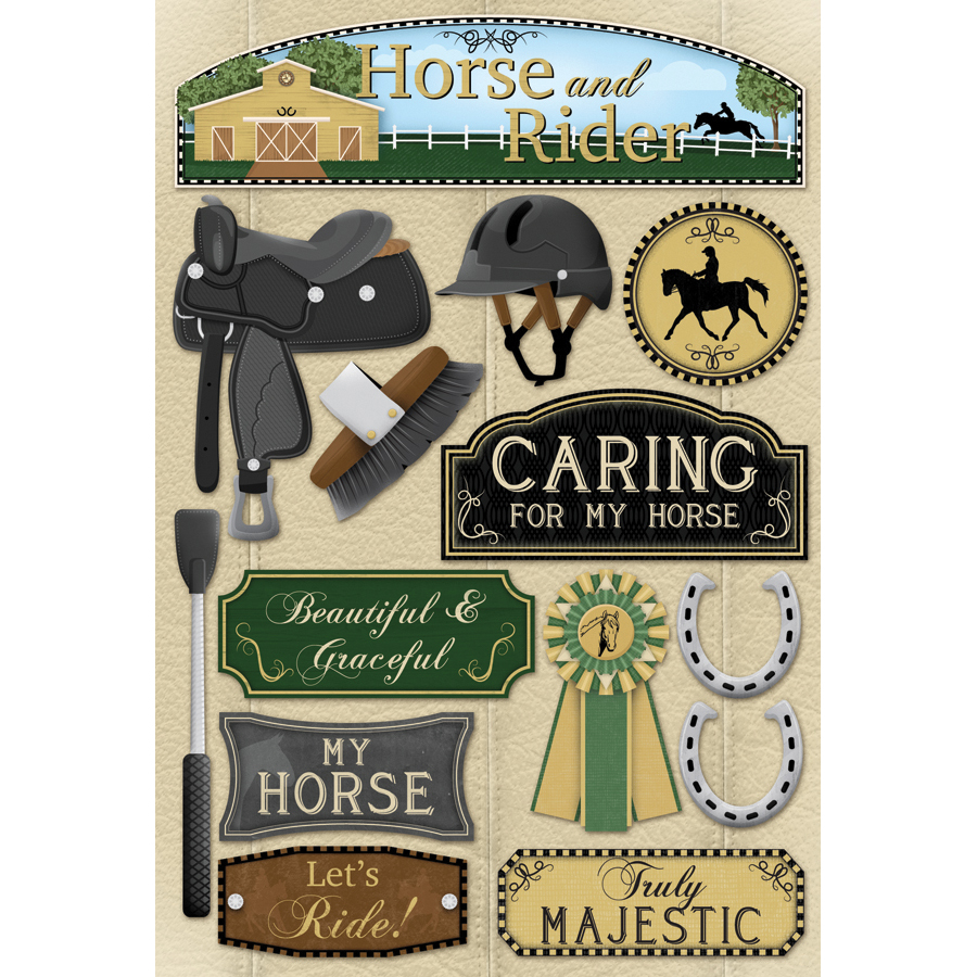 Cardstock Stickers-Horse & Rider