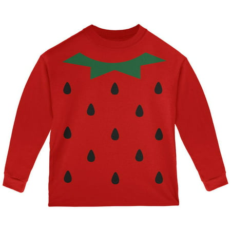 Strawberry Shortcake New Shirts - Halloween Strawberry Costume Red Toddler Long Sleeve T-Shirt