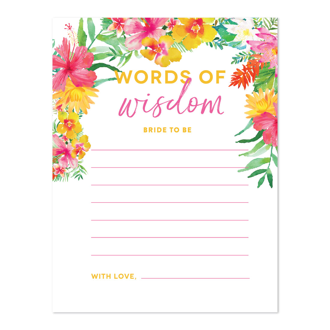 Tropical Floral Garden Party Wedding, Blank Words of Wisdom for the Bride-to-Be Bridal Shower Cards, 20-Pack