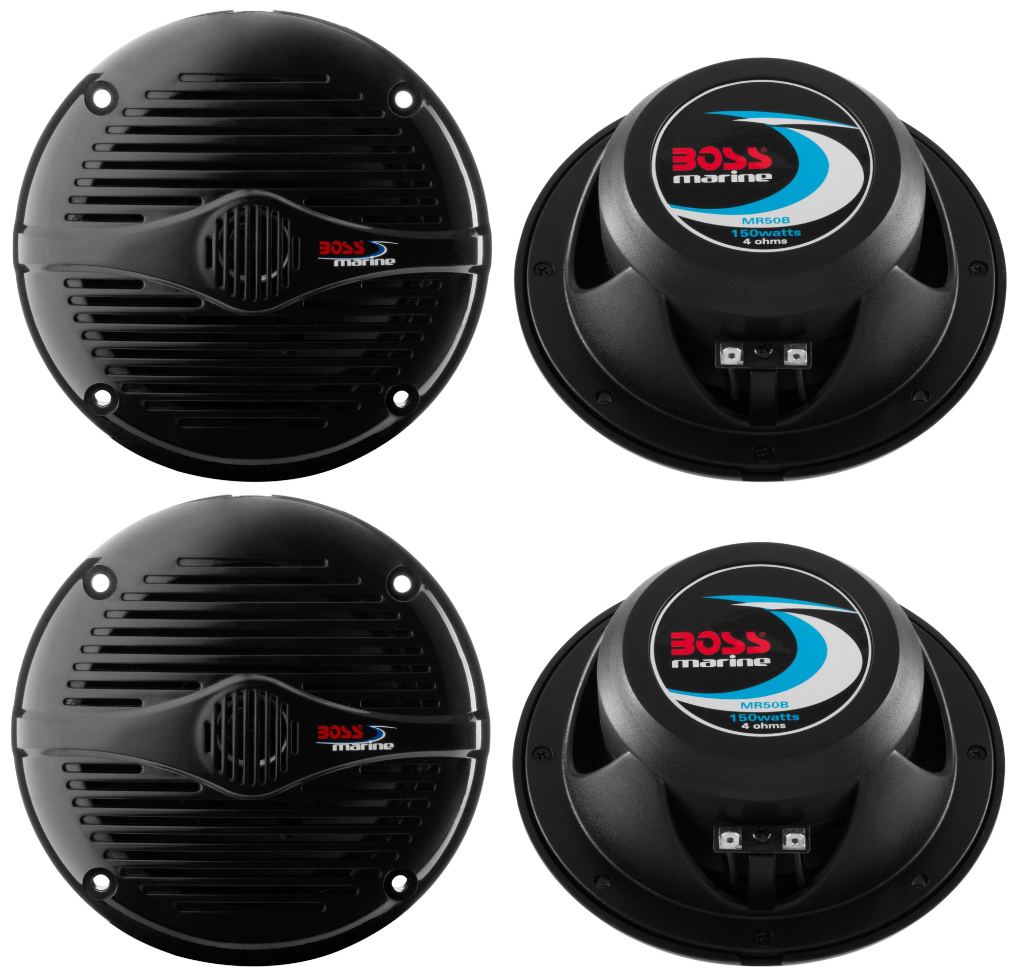 "4) BOSS MR50B 5.25"" 2-Way 300W Marine/Boat Car Coaxial Audio Speakers Black"