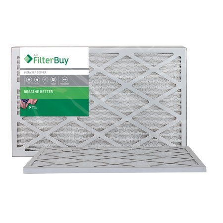 AFB Silver MERV 8 13x25x1 Pleated AC Furnace Air Filter. Pack of 2 Filters. 100% produced in the USA. ()