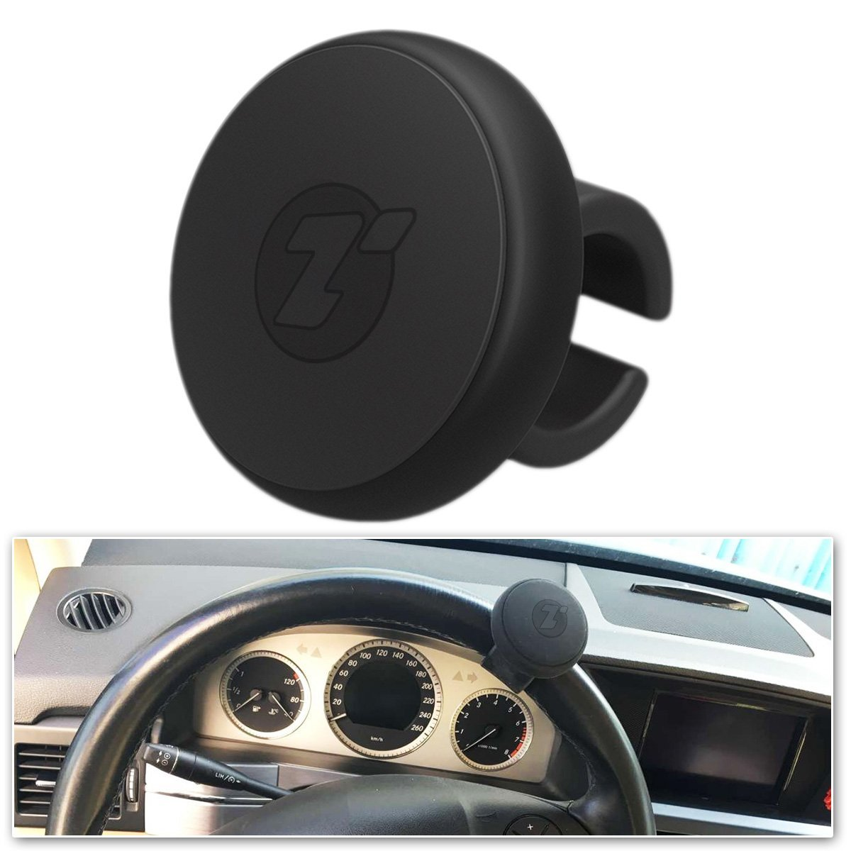 Zone Tech Steering Wheel Spinner - Classic Black Silicone Power Handle Steering Wheel Knob