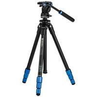 "Benro 4-Section Aluminum Slim Video Tripod Kit with S2P Head, 5.5 Lbs Capacity, 57"" Maximum Height"