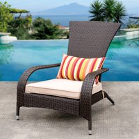Product Image Sundale Outdoor Deluxe Wicker Adirondack Chair Patio Yard Furniture All Weather With Cushion And