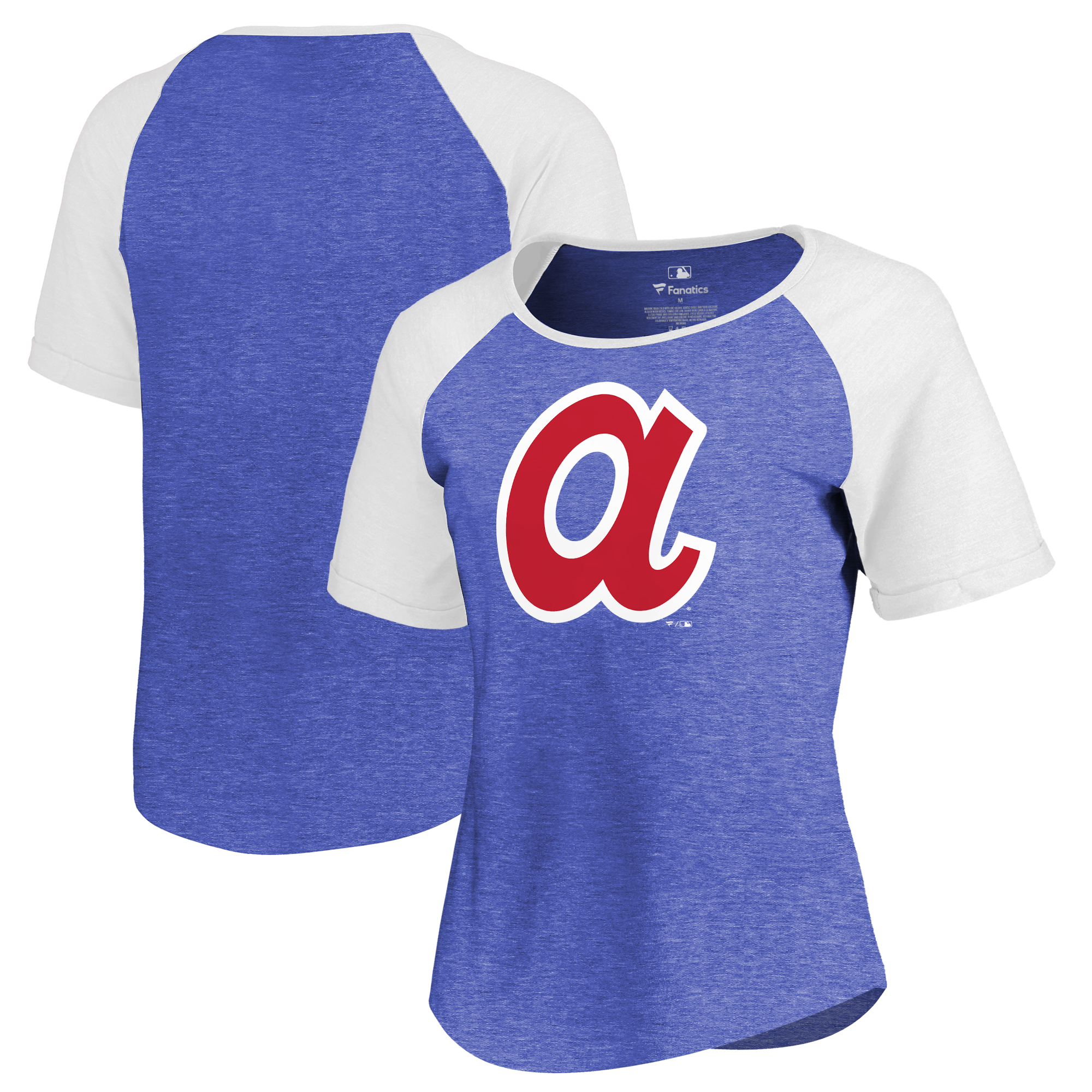 Atlanta Braves Fanatics Branded Women's Huntington Cooperstown Collection Tri-Blend T-Shirt - Royal