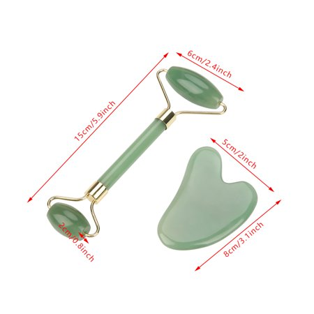 Domqga Natural Double Head Green Aventurine Jade Stone Roller & Scrapping Plate Face Massage Tool Kit,Massage Roller, Scrapping Plate - image 1 of 8
