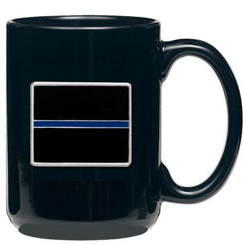 Thin Blue Line Coffee Mug Black 15oz