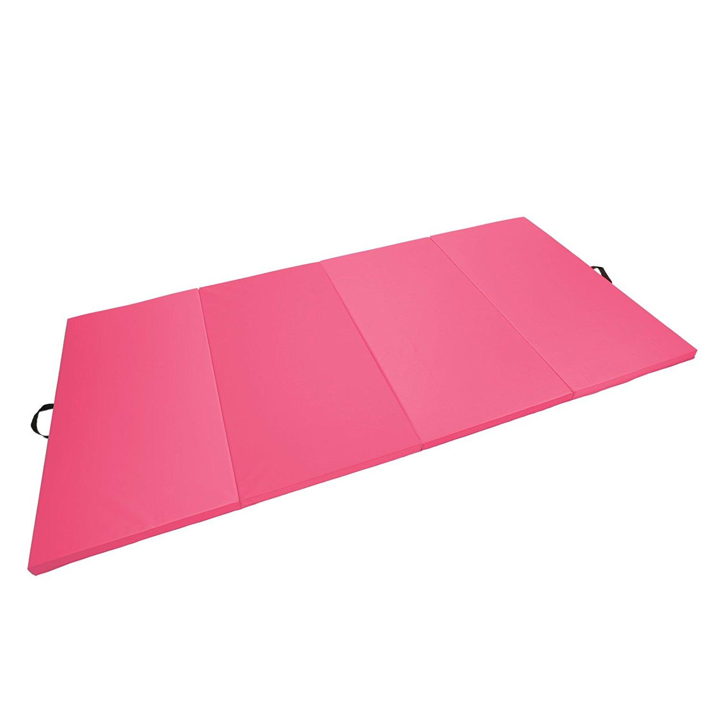 "4'x8'x2"" Gymnastics Gym Folding Exercise Aerobics Mats Stretching Yoga Mat Pink by Magshion"