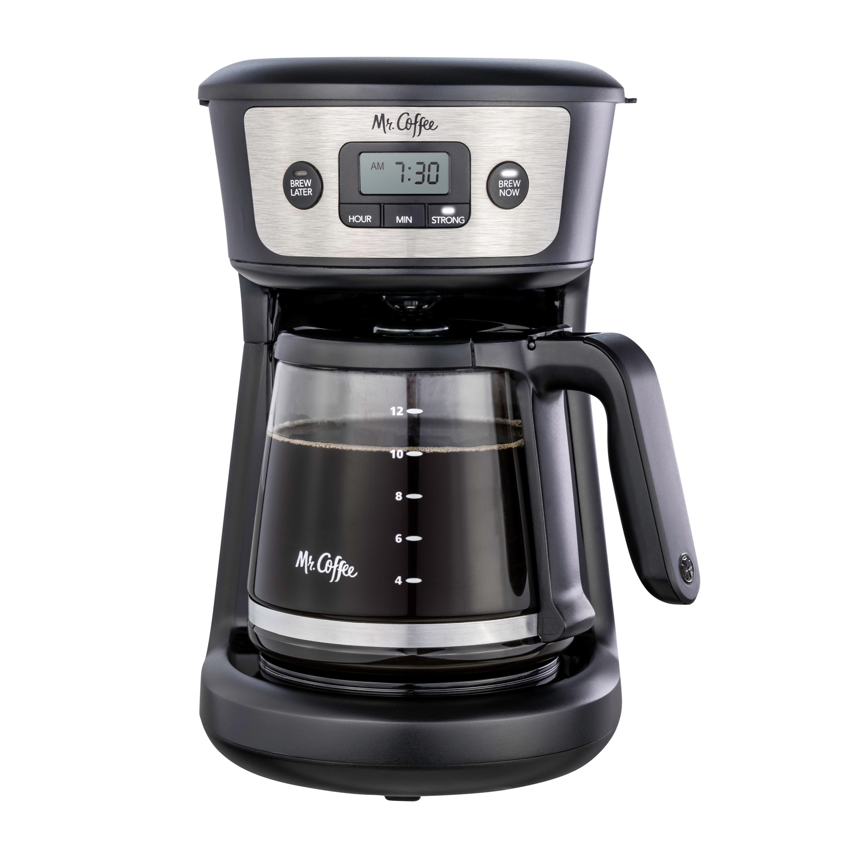 Mr. Coffee 12-Cup Programmable Coffeemaker, Strong Brew Selector, Baja Tahan Karat