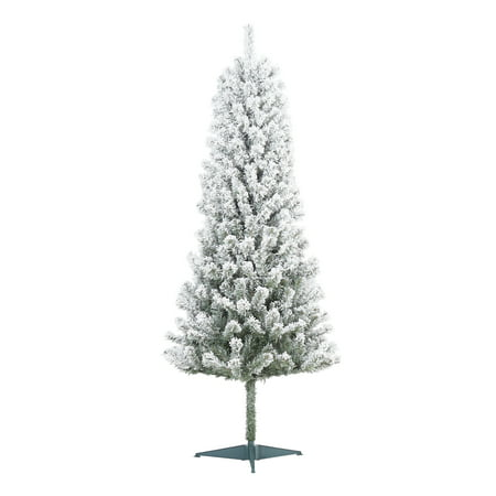 Holiday Time Un-Lit Snow-Flocked Pine Artificial Christmas Tree, 6', White ()