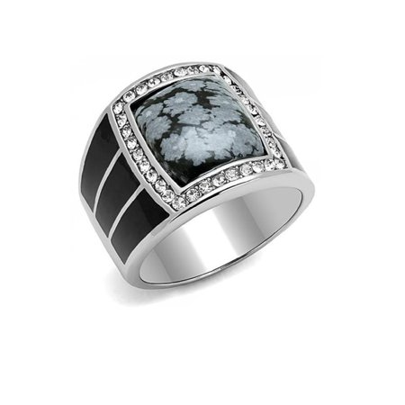 Handcrafted Snowflake Obsidian - Large New Men's Stainless Steel Black IP Obsidian Snowflake Ring Sizes 8-13