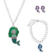 Mermaid Mood Bracelet, Mood Necklace and Mood Earrings Set for Little Girls