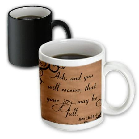 Christian Mug (3dRose Bible Verse John 16-24 Brown Background Bible Christian Inspirational Saying, Magic Transforming Mug, 11oz )