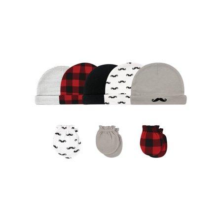 Hudson Baby Caps & Scratch Mittens, 8pc Set (Baby Boys)