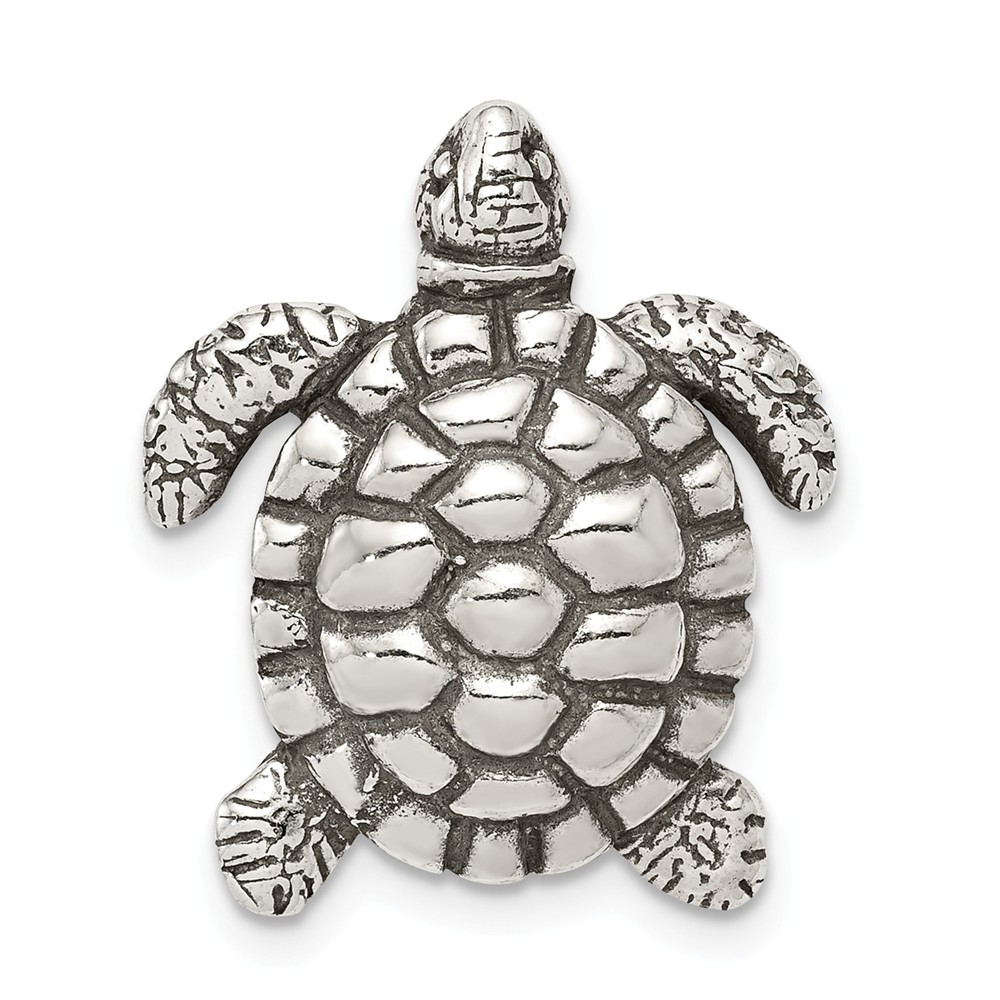 Sterling Silver Antiqued Turtle Charm (0.8in)