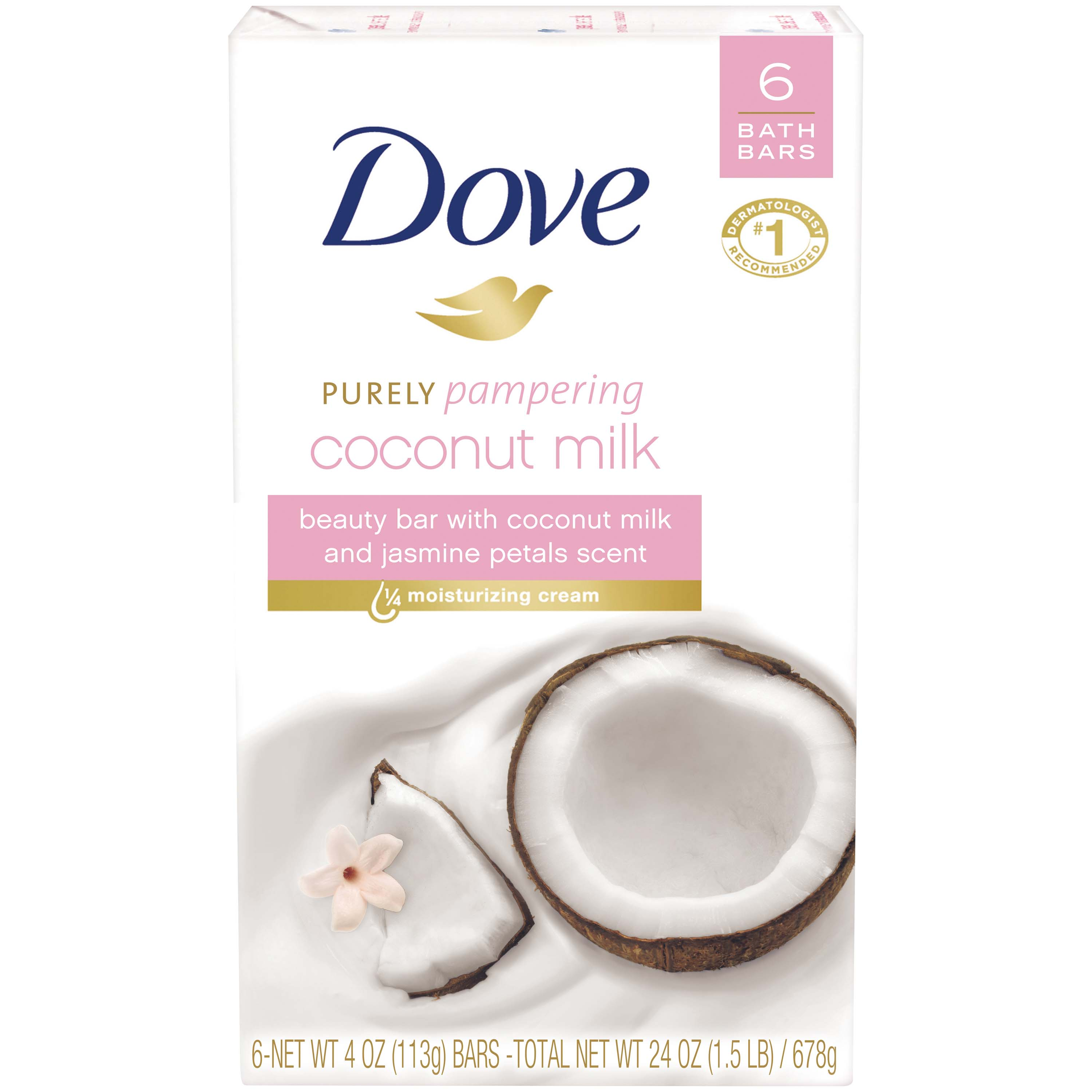 Dove Coconut Milk Beauty Bar, 4 oz, 6 Bar