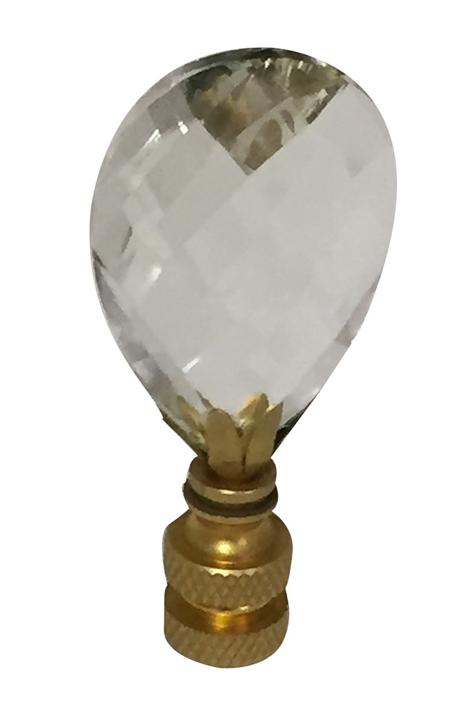 Royal Designs Small Diamond Swiss Cut Clear K9 Crystal Lamp Finial For Lamp  Shade With Polished
