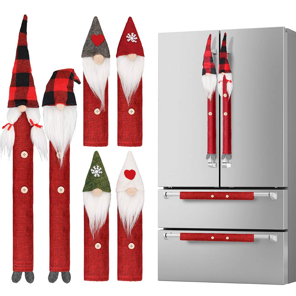 Christmas Kitchen Ornament Refrigerator Oven Door Handle Cover Xmas Decor Set