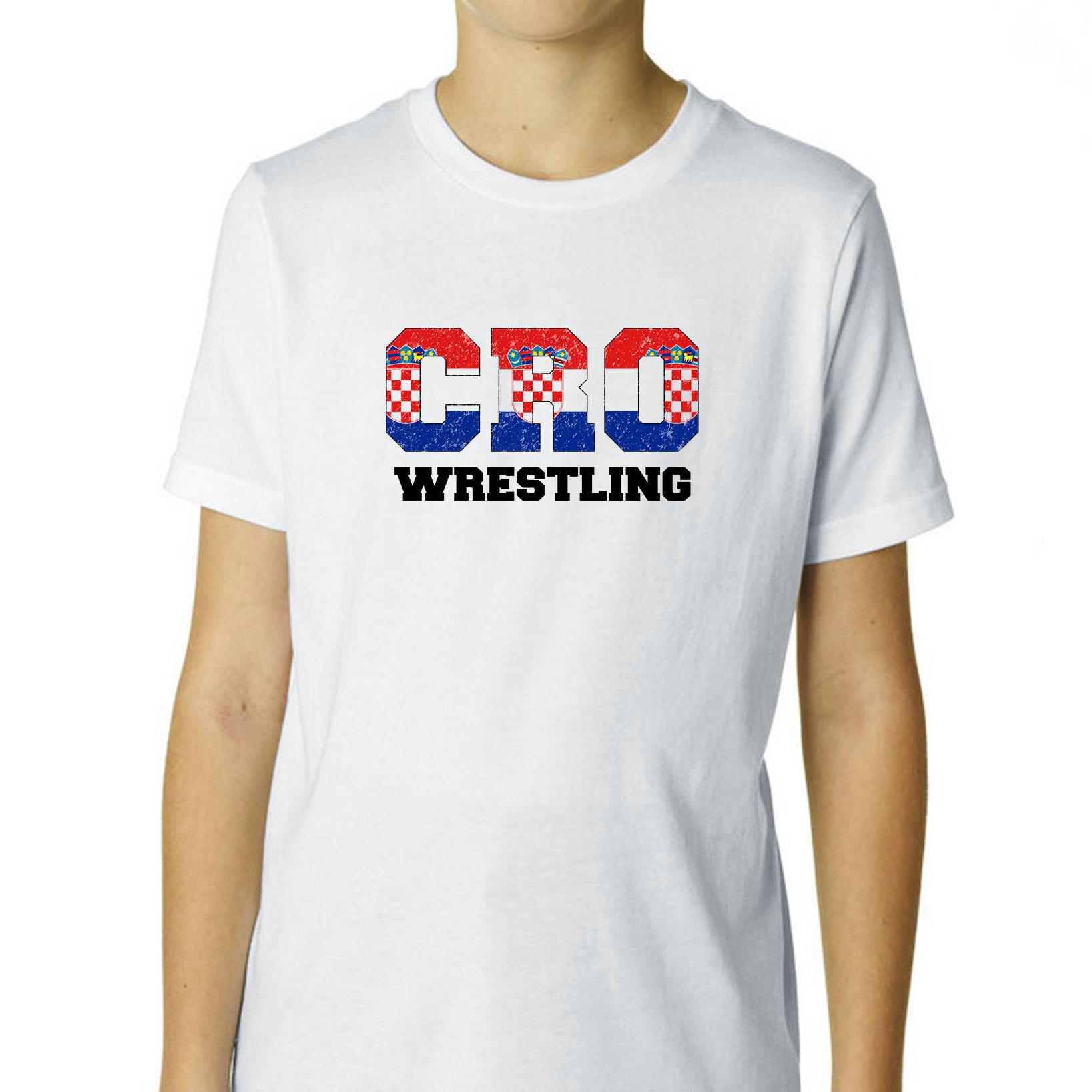 Croatia Wrestling Olympic Games Rio Flag Boy's Cotton Youth T-Shirt by Hollywood Thread