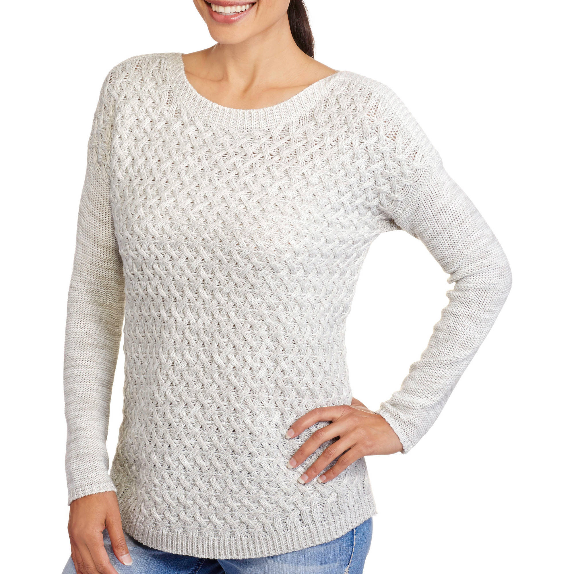 Women's Drop Shoulder Textured Crew Neck Sweater
