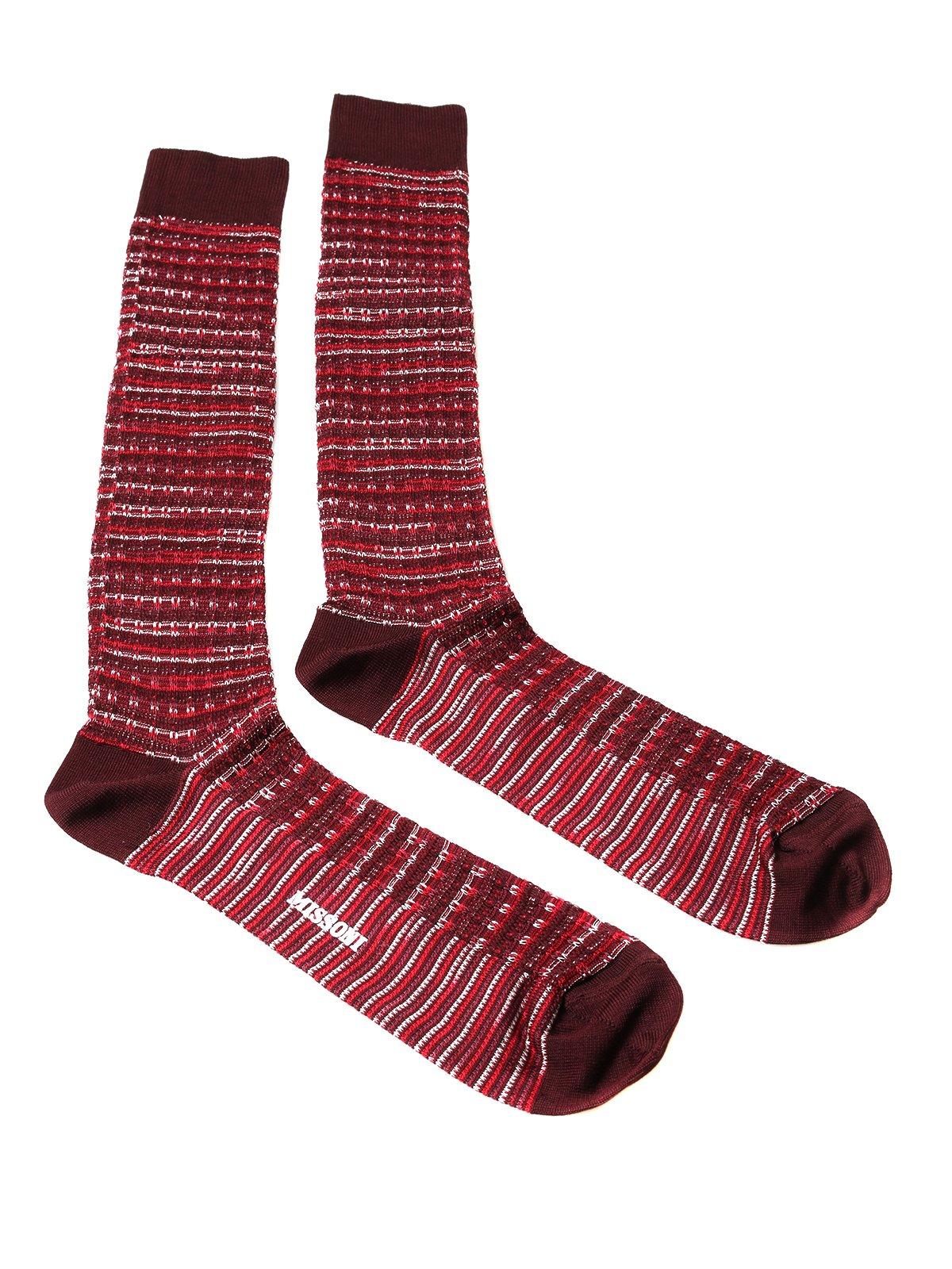 Missoni GM00CMU4950 0003 Red/White Knee Length Socks