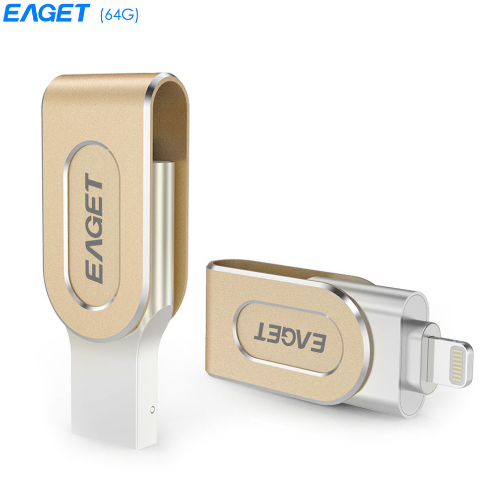 EAGET i80 64GB USB 3.0 Rotation Metal OTG 8 Pin U Disk Memory Flash Drive for iPhone / iPad