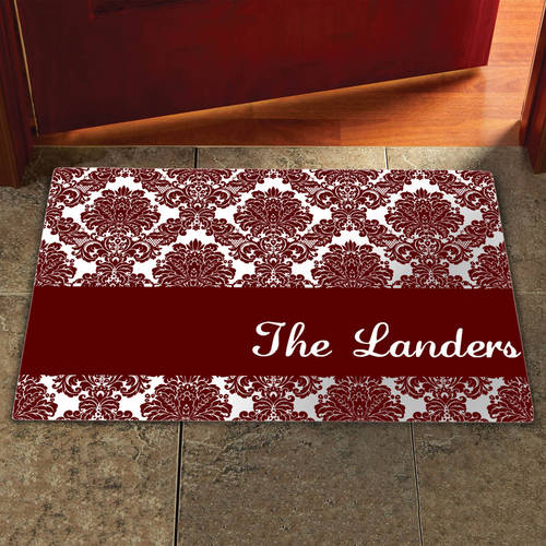 """Personalized 17"""" x 27"""" Damask Doormat, Multiple Colors"""