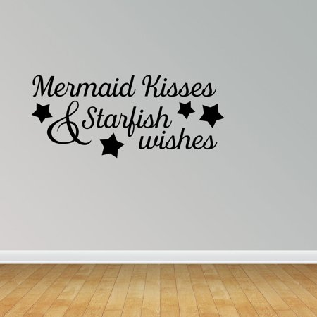 Wall Decal Quote Mermaid Kisses And Starfish Wishes Vinyl Sticker Home Decor PC458](Happy Halloween Wish Quotes)