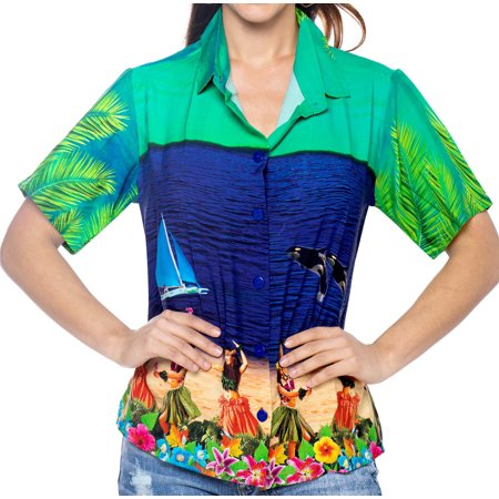 Hawaiian Christmas (LA LEELA Relaxed Hawaiian Shirt Christmas Blouses Button Down Women Short Sleeves)