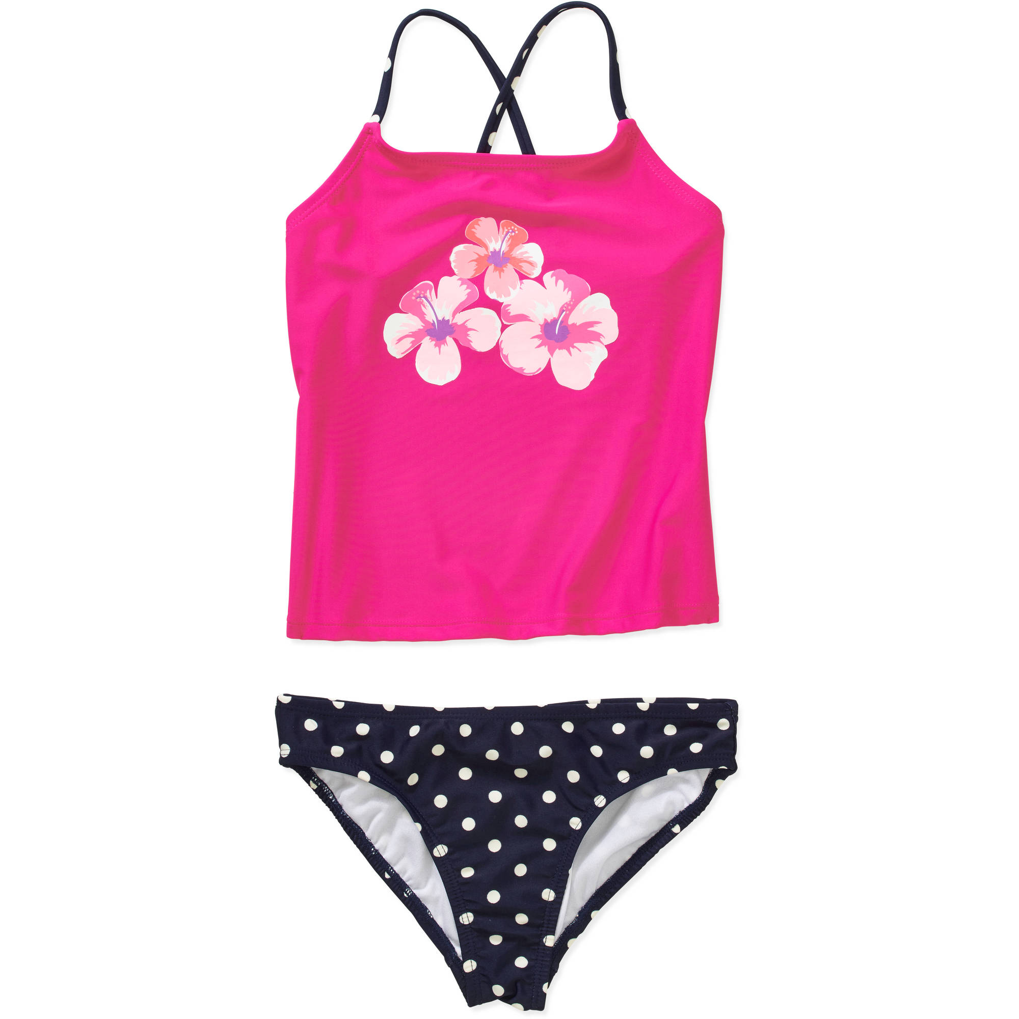 OP Girls' Tankini Solid Swimsuit