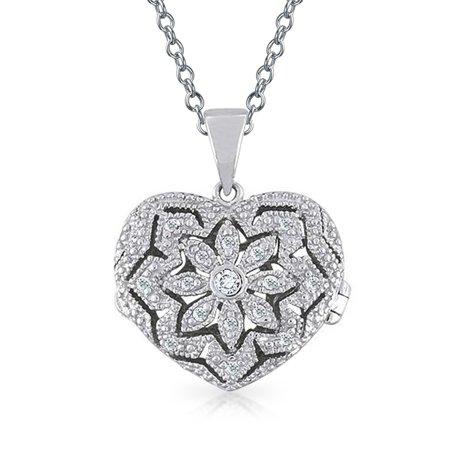 Vintage Style Heart Floral Locket Pendant Filigree Cubic Zirconia CZ Necklace For Women For Teen 925 Sterling (Floral Vintage Pendant)