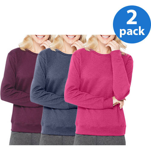 Hanes Women's Essential Crewneck Fleece Pullover Sweatshirt 2 Pack Value Bundle