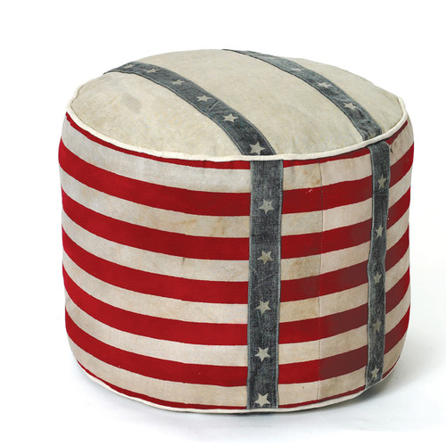 Hip Vintage Recycled Canvas Stripe Pouf Ottoman