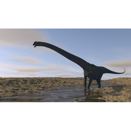 Large Mamenchisaurus Walking Along A Dry Riverbed Canvas Art   Kostyantyn Ivanyshenstocktrek Images  19 X 11