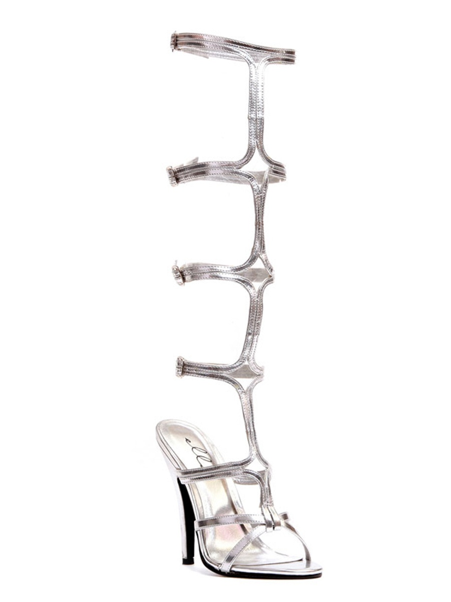 5 Inch Women's Strapy Shoes Sexy High Heel Sandal Shoes WIth Knee High Straps