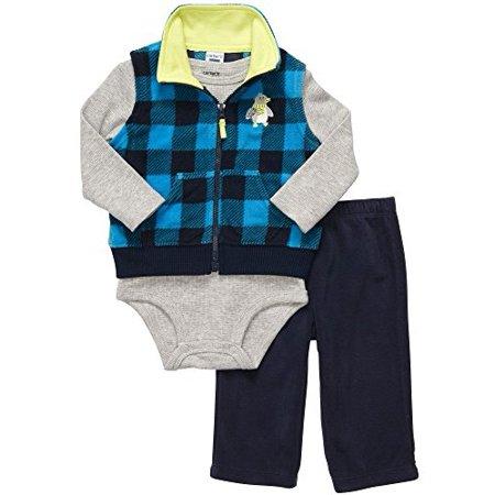 Carter's Baby Boys' Thermal and Fleece Plaid Vest Penguin Set (3 Months)