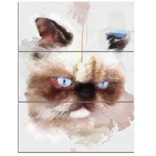 Design Art 'Angry Brown Watercolor Cat Sketch' 3 Piece Wall Art on Wrapped