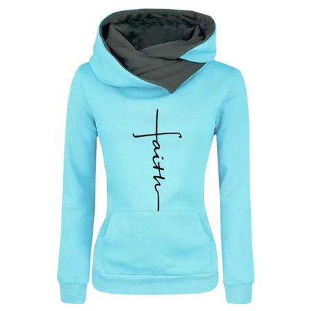 KABOER Women's Lapel Embroidered Hooded Sweatshirt Casual Cross Pattern Letter Print Sports Hooded Pullover Top (Sweatshirt Embroidered Top)