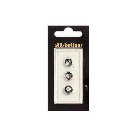 Dill Buttons 9mm 3pc Shank Rhinestone Black