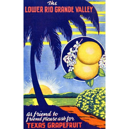 Advertising postcard for The Lower Rio Grand Valley Texas Grapefruit Poster Print by Curt Teich & Company Hotel Advertising Postcard
