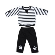 Everpert 2pcs Baby Kids Toddler Boy Stripe Long Sleeve Tops+Pants Outfit(Black)(110)-144530.10