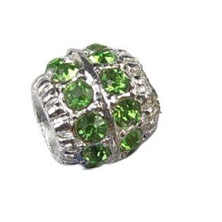 Shape Crystal Charm (Green Rhinestone Crystal Barrel Shape Charm Bead. Fits Troll, Biagi, Zable, Chamilia, And Pandora Style Charm Bracelets. )