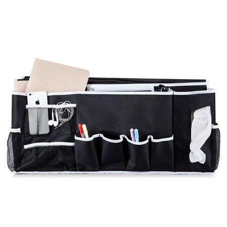 - Bedside Caddy Organizer with 12 Pockets Hanging Storage Perfect for College Dorm Rooms and Bunk Beds. Large Size Holds Your Tissues, Books, Tablet, Phone, Water Bottle, and More